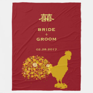 Year Of Rooster Wedding Red Gold Personalized Fleece Blanket