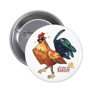 Year of Rooster, with Chinese Character, Button