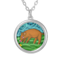 Year of the boar pig by Katy Christoff Silver Plated Necklace