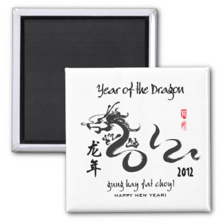 Year of the Dragon 2012 - Black and White Fridge Magnet