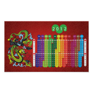 Year of the Dragon 2012 Calendar for kids (Red) Poster