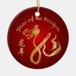 Year of the Dragon 2012 - Chinese New Year Double-Sided Ceramic Round Christmas Ornament
