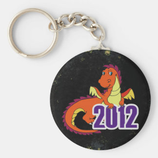 Year of the dragon 2012  chinese new year basic round button keychain
