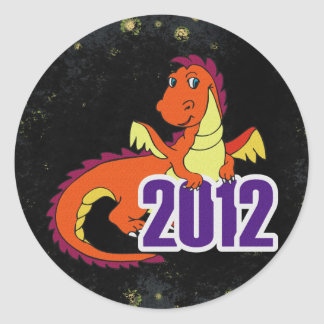 Year of the dragon 2012  chinese new year classic round sticker