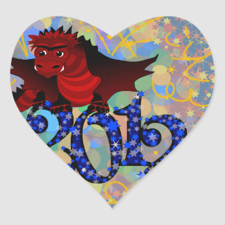 Year of the Dragon 2012 Heart Sticker
