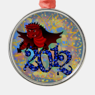 Year of the Dragon, 2012 Round Metal Christmas Ornament