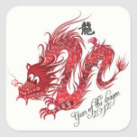 year of the dragon 2012 square stickers