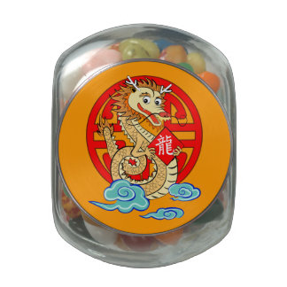 Year of the dragon glass candy jar