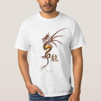 "Year of the ""DRAGON"" Chinese Copper Dragon & Kanji Tee Shirt"