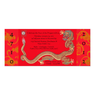 "Year of the Dragon ~ Chinese New Year Invitations 4"" X 9.25"" Invitation Card"