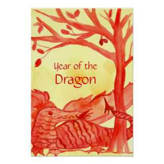 Year of the Dragon Chinese New Year Watercolor Red Poster