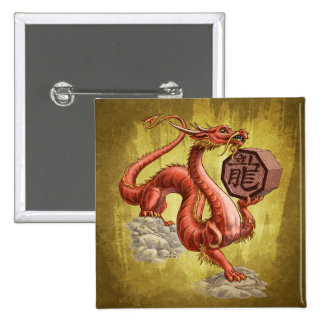 Year of the Dragon Chinese Zodiac Art 2 Inch Square Button