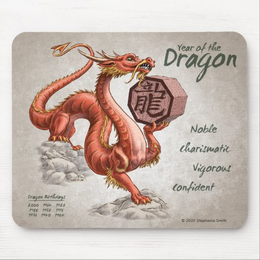 Year of the Dragon Chinese Zodiac Art Mouse Pad
