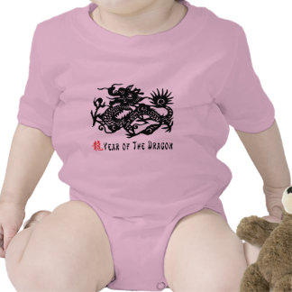 Year of The Dragon Paper Cut T-Shirt Baby Creeper
