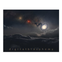 glowing, dragon, chinese, moon, clouds, night, mars, Postcard with custom graphic design