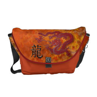 Year of the Dragon: Red Wax and Mandarin Orange Courier Bag