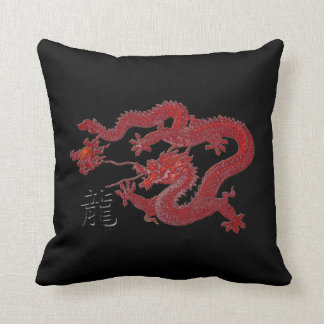 Year of the Dragon: Red Wax Throw Pillow