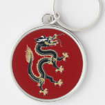 Year of the Dragon Silver-Colored Round Keychain