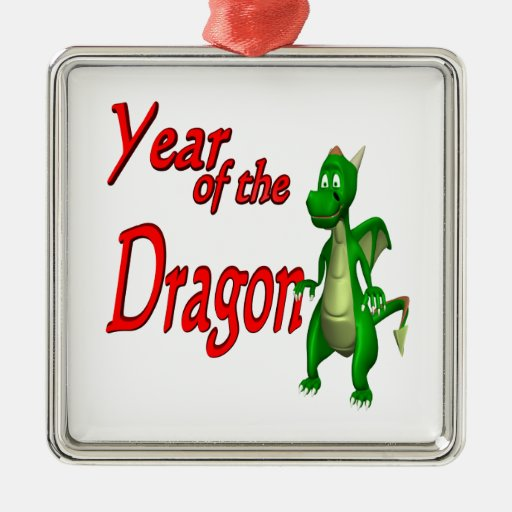 Year Of The Dragon Square Metal Christmas Ornament