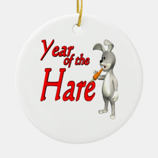 Year Of The Hare Double-Sided Ceramic Round Christmas Ornament