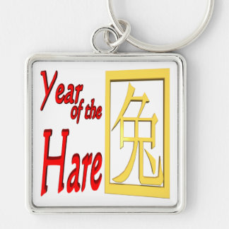 Year Of The Hare Silver-Colored Square Keychain