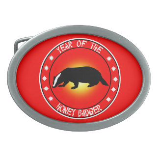 Year of the Honey Badger Oval Belt Buckle