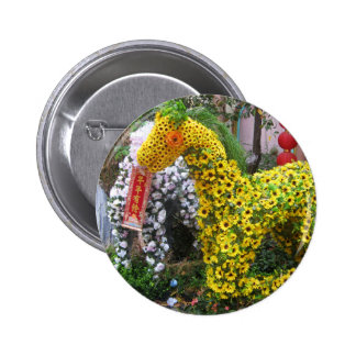 Year of the Horse | 春節馬 ... Chinese Flower Topiary Pinback Button