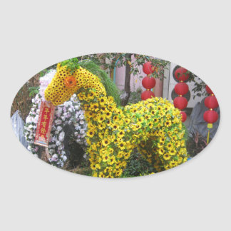 Year of the Horse | 春節馬 ... Chinese Flower Topiary Oval Stickers