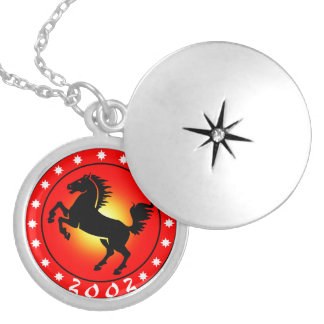 Year of the Horse 2002 Round Locket Necklace