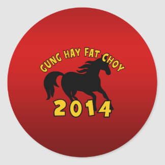 Year of The Horse 2014 Round Stickers