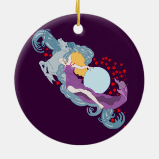 Year of the Horse Double-Sided Ceramic Round Christmas Ornament