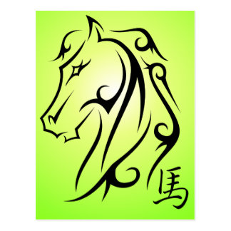 Year of the Horse Horses Head Postcard Green