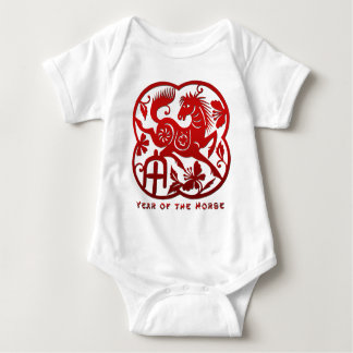 Year of The Horse Papercut Baby Bodysuit