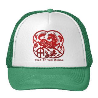 Year of The Horse Papercut Mesh Hat