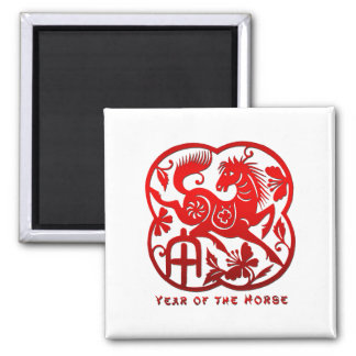 Year of The Horse Papercut Magnet