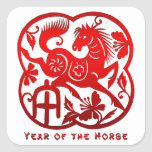 Year of The Horse Papercut Square Sticker
