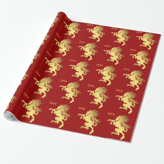 Year of the Horse Red Wrapping Paper