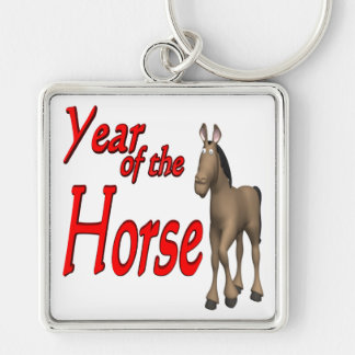 Year Of The Horse Silver-Colored Square Keychain