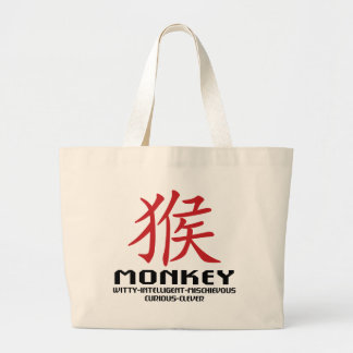 Year of The Monkey Characteristics Large Tote Bag