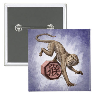 Year of the Monkey Chinese Zodiac Art 2 Inch Square Button