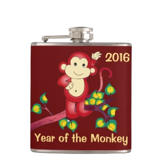 Year of the Monkey Red 2016 Chinese New Year Flask