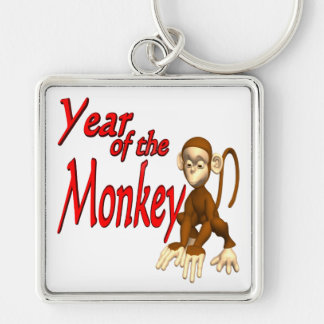 Year Of The monkey Silver-Colored Square Keychain