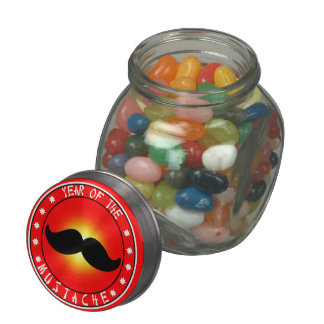 Year of the Mustache Glass Candy Jar