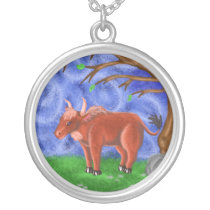 Year of the ox by katy Christoff chinese zodiac Silver Plated Necklace
