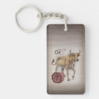Year of the Ox Chinese Zodiac Animal Art Rectangular Acrylic Keychains