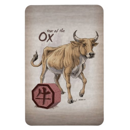 year of the ox chinese zodiac art rectangular photo magnet zazzle. Black Bedroom Furniture Sets. Home Design Ideas