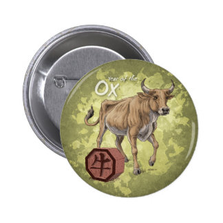 Year of the Ox Chinese Zodiac Art 2 Inch Round Button