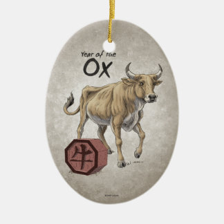 Year of the Ox Chinese Zodiac Art Ceramic Ornament