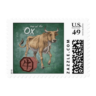 Year of the Ox Chinese Zodiac Art Postage Stamp