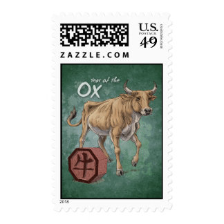 Year of the Ox Chinese Zodiac Art Postage Stamps